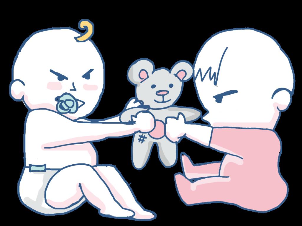 bebe pega compartir rabieta enfado